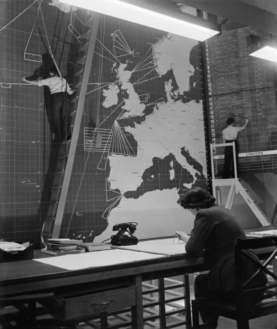 The interior of the Operations Room at Coastal Command Headquarters at Eastbury Park, Northwood, Middlesex